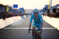 last lap for Lars Boom (NLD/Astana) (with the sun setting behind him on the finish straight)<br /> <br /> UCI Cyclocross World Cup Heusden-Zolder 2015