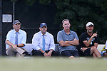 19 August 2016: UNC head coach Anson Dorrance (left) with his assistant coaches (from left) Bill Palladino, Chris Ducar, and Damon Nahas. The University of North Carolina Tar Heels hosted the University of Central Florida Knights in a 2016 NCAA Division I Women's Soccer match. UNC won the game 2-0