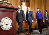 United States Representative Adam Schiff (Democrat of California), Chairman, US House Permanent Select Committee on Intelligence, and Speaker of the United States House of Representatives Nancy Pelosi (Democrat of California), enter a news conference laying out articles of impeachment for President Donald J. Trump, on Capitol Hill in Washington, DC on Tuesday, December 10, 2019. Credit: Alex Wroblewski / CNP
