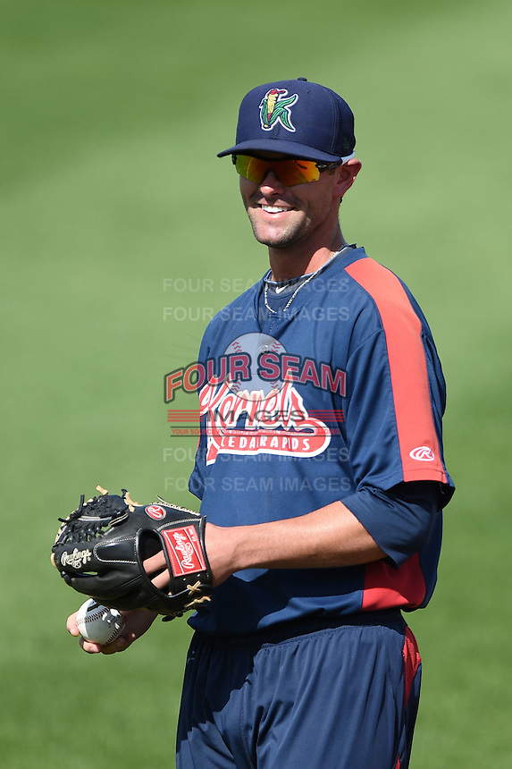 Cedar Rapids Kernels pitcher Dallas Gallant (32) during practice before a game against the Quad Cities River Bandits on August 19, 2014 at Perfect Game Field at Veterans Memorial Stadium in Cedar Rapids, Iowa.  Cedar Rapids defeated Quad Cities 5-3.  (Mike Janes/Four Seam Images)