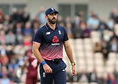 29th September 2017, Ageas Bowl, Southampton, England; One Day International Series, England versus West Indies; Liam Plunkett of England moves into his fielding position between overs