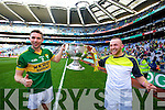 Marc O'Se and Barry John Keane. Kerry players celebrate their victory over Donegal in the All Ireland Senior Football Final in Croke Park Dublin on Sunday 21st September 2014.