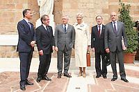 FRANCO FRATTINI, ROBERTO MARONI, GIULIO TREMONTI, IL MINISTRO FRANCESE DELL'ECONOMIA CHRISITNE LAGARDE, IL MINISTRO DELL'INTERNO CLAUDE GUEANT ED IL MINISTRO DEGLI ESTERI ALAIN JUPPE'..Roma 26/04/2011 Vertice Italo-Francese a Villa Madama. Italian-French Summit..Photo Samantha Zucchi Insidefoto
