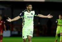 Exeter City's Reuben Reid appeals for a foul during the Sky Bet League 2 match between Crawley Town and Exeter City at Broadfield Stadium, Crawley, England on 28 February 2017. Photo by Carlton Myrie / PRiME Media Images.
