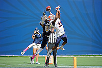 10 October 2015:  FIU wide receiver Shawn Abrams (84) and UTEP defensive back Kalon Beverly (32) jump for a ball in the end zone in the first quarter as the FIU Golden Panthers faced the University of Texas at El Paso Miners at FIU Stadium in Miami, Florida. (Photo by Samuel Lewis/ImageReflex)