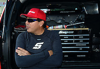 Oct. 5, 2012; Mohnton, PA, USA: NHRA funny car driver Cruz Pedregon during qualifying for the Auto Plus Nationals at Maple Grove Raceway. Mandatory Credit: Mark J. Rebilas-