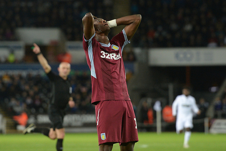 Aston Villa's Tammy Abraham looks to the skys after seeing a chance go by <br /> <br /> Photographer Ian Cook/CameraSport<br /> <br /> The EFL Sky Bet Championship - Swansea City v Aston Villa - Wednesday 26th December 2018 - Liberty Stadium - Swansea<br /> <br /> World Copyright © 2018 CameraSport. All rights reserved. 43 Linden Ave. Countesthorpe. Leicester. England. LE8 5PG - Tel: +44 (0) 116 277 4147 - admin@camerasport.com - www.camerasport.com