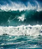 USA, Hawaii, Kelly Slater wipeout on a huge wave at Waimea bay