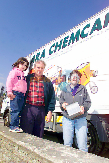 Nuala earley bring a battery to the chemcar organised by the Bouraghcouncil watching is Michael and Mary McCabe from the Council..Photo Fran Caffrey/Newsfile.ie..This picture has been sent to you by:.Newsfile Ltd,.3 The View,.Millmount Abbey,.Drogheda,.Co Meath..Ireland..Tel: +353-41-9871240.Fax: +353-41-9871260.GSM: +353-86-2500958.ISDN: +353-41-9871010.IP: 193.120.102.198.www.newsfile.ie..email: pictures@newsfile.ie..This picture has been sent by Fran Caffrey.francaffrey@newsfile.ie