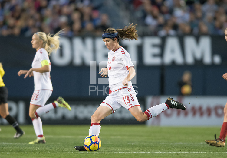 San Diego, Ca - Sunday, January 21, 2018: Sofie Junge Pedersen during a USWNT 5-1 victory over Denmark at SDCCU Stadium.