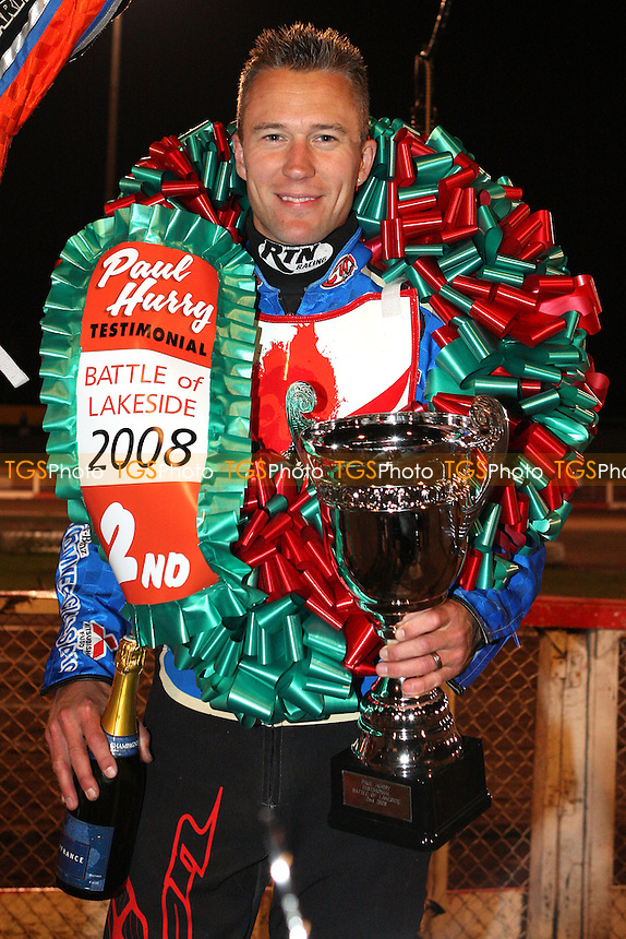 Leigh Lanham with his 2nd place trophy - The Paul Hurry Testimonial at The Arena Essex Raceway, Lakeside - 18/07/08 - MANDATORY CREDIT: Rob Newell/TGSPHOTO