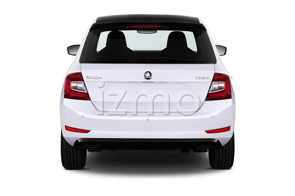 Straight rear view of a 2019 Skoda Fabia Monte Carlo 5 Door Hatchback stock images
