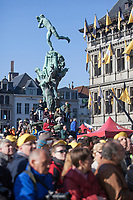fans climbing the Brabo statue in Antwerp to get a better view on the start podium<br /> <br /> 101st Ronde van Vlaanderen  2017 (1.UWT)<br /> 1day race: Antwerp-Oudenaarde (260km)