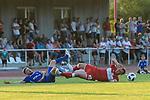 18.07.2018, Voehlinstadion, Illertissen, GER, FSP, FV Illertissen - VfB Stuttgart, im Bild Maurizio Scioscia (Illertissen, #17), David Kopacz (Stuttgart, #29)<br /> <br /> Foto &copy; nordphoto / Hafner
