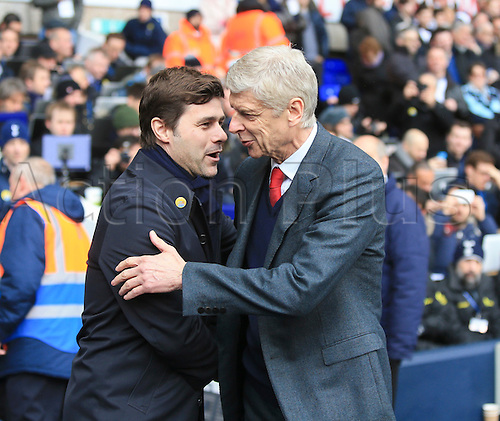 05.03.2016. White Hart Lane, London, England. Barclays Premier League. Tottenham Hotspur versus Arsenal. Mauricio Pochettino, the Tottenham manager and Arsene Wenger, the Arsenal manager shake hands.