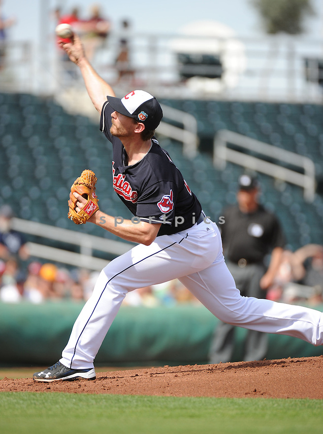 Cleveland Indians Josh Tomlin (43) during a pre-season game against the Cincinnati Reds on March 1, 2016 at Goodyear Ballpark in Goodyear, AZ. The Reds beat the Indians 6-5.