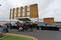 "Pictured: Hundreds of mourners attend the service at Aberavon Beach Hotel in Port Talbot, Wales, UK. Monday 08 October 218<br /> Re: A grieving father will mourners on horseback at the funeral of his ""wonderful"" son who killed himself after being bullied at school.<br /> Talented young horse rider Bradley John, 14, was found hanged in the school toilets by his younger sister Danielle.<br /> Their father, farmer Byron John, 53, asked the local riding community to wear their smart hunting gear at Bradley's funeral.<br /> Police are investigating Bradley's death at the 500-pupils St John Lloyd Roman Catholic school in Llanelli, South Wales.<br /> Bradley's family claim he had been bullied for two years after being diagnosed with Attention Deficit Hyperactivity Disorder.<br /> He went missing during lessons and was found in the toilet cubicle by his sister Danielle, 12."