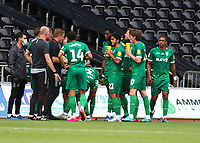 5th July 2020; Liberty Stadium, Swansea, Glamorgan, Wales; English Football League Championship, Swansea City versus Sheffield Wednesday; Sheffield Wednesday players group during the drinks break in the first half