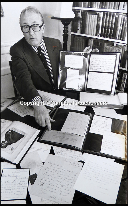 BNPS.co.uk (01202 558833)<br /> Pic: CampbellsAuctioneers/BNPS<br /> <br /> Jon Evans with his collection of letters and signatures.<br /> <br /> A magnificent collection of more than 1,000 signatures and letters from iconic historical figures including the Duke of Wellington, Picasso and Sir Winston Churchill have emerged for auction.<br /> <br /> The collection, which spans 300 years, was amassed by the late animal rights campaigner Jon Evans who meticulously framed or put the signatures in albums.<br /> <br /> Other famous figures in his collection include Charles Dickens, Sir Edmund Hilary, Mahatma Gandhi, Neil Armstrong, Lord Kitchener, Rudyard Kipling and Margaret Thatcher.<br /> <br /> The extensive array of documents is now expected to fetch &pound;30,000 at Campbells Auctioneers tomorrow (Tues).