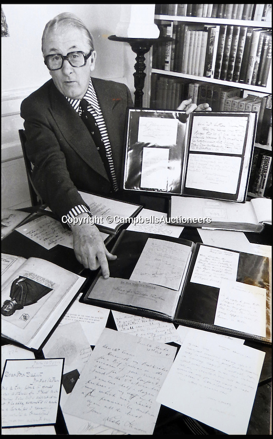 BNPS.co.uk (01202 558833)<br /> Pic: CampbellsAuctioneers/BNPS<br /> <br /> Jon Evans with his collection of letters and signatures.<br /> <br /> A magnificent collection of more than 1,000 signatures and letters from iconic historical figures including the Duke of Wellington, Picasso and Sir Winston Churchill have emerged for auction.<br /> <br /> The collection, which spans 300 years, was amassed by the late animal rights campaigner Jon Evans who meticulously framed or put the signatures in albums.<br /> <br /> Other famous figures in his collection include Charles Dickens, Sir Edmund Hilary, Mahatma Gandhi, Neil Armstrong, Lord Kitchener, Rudyard Kipling and Margaret Thatcher.<br /> <br /> The extensive array of documents is now expected to fetch £30,000 at Campbells Auctioneers tomorrow (Tues).