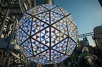 The New Year's Eve Ball on the roof of One Times Square is tested on Sunday, December 30, 2012. The 12 foot in diameter ball, covered with 2,668 Waterford Crystals, is lighted by 32,256 energy efficient LED bulbs and weighs 11,875 pounds. It can display billions of different patterns to welcome in the New Year. (© Richard B. Levine)