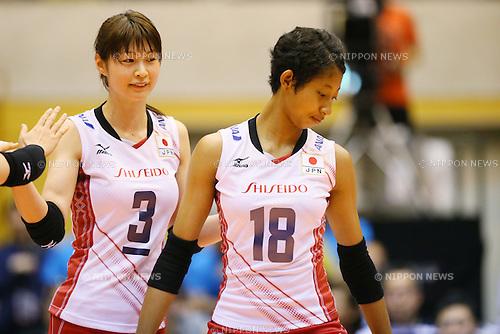 (L to R) <br /> Saori Kimura, <br /> Airi Miyabe (JPN), <br /> JULY 11, 2015 - Volleyball : <br /> FIVB Volleyball World Grand Prix Saitama 2015 <br /> preliminary round match <br /> between Japan 3-0 Dominican Republic <br /> at Saitama city memorial gymnasium <br /> in Saitama, Japan. <br /> (Photo by YUTAKA/AFLO SPORT)
