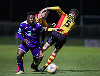 20191125 - WOLVERTEM: Anderlecht's Jeremy Doku (left) is running for the ball and Mechelen's Gaeten Bosiers is trying to push Alec van Hoorenbeeck (5) out of the way during the Belgian Elite U21 league football match between RSC Anderlecht U21 and KV Mechelen U21 on Monday 25th of November 2019 at F. Lathouwersstadion, Wolvertem Belgium. PHOTO: SEVIL OKTEM|SPORTPIX.BE