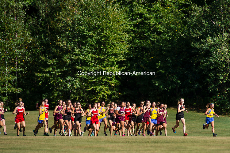 WATERTOWN, CT- 15 September 2015-091515EC03-  The start of the cross country 5k at Veteran's Memorial Park in Watertown. The Watertown team swept the girls' race with first, second and third places. Erin Covey Republican-American