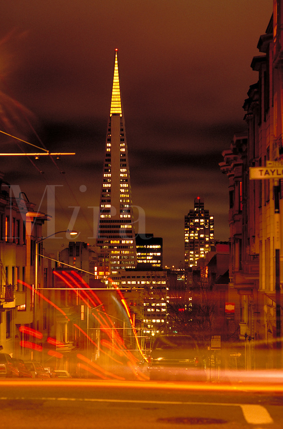City; night; pyramid; lights;. San Francisco California.