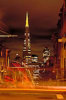 City; night; pyramid; lights;. San Francisco California.