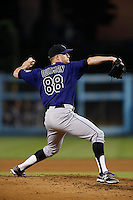 Josh Outman #88 of the Colorado Rockies pitches against the Los Angeles Dodgers at Dodger Stadium on September 29, 2012 in Los Angeles, California. Los Angeles defeated Colorado 3-0. (Larry Goren/Four Seam Images)