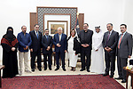Palestinian President Mahmoud Abbas meets with a delegation from the Kuwaiti Ministry of Education, in the West Bank city of Ramallah on Aug. 12, 2018. Photo by Thaer Ganaim