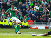 June 11th 2017, Dublin, Republic Ireland; 2018 World Cup qualifier, Republic of Ireland versus Austria;  Jonathan Walters of Ireland takes a shot on goal but misses the target