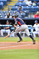 Rome Braves designated hitter Matt Gonzalez (13) swings at a pitch during a game against the Asheville Tourists at McCormick Field on May 22, 2017 in Asheville, North Carolina. The Braves defeated the Tourists 7-3. (Tony Farlow/Four Seam Images)