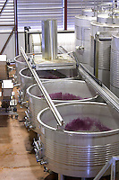 Fermentation tanks. Mechanical pigeur, for pushing down the cap, pigeage. Lagares, Portuguese low and wide maceration vats. Herdade das Servas, Estremoz, Alentejo, Portugal