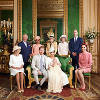 06 July 2019 - Windsor, UK - This official christening photograph released by the Duke and Duchess of Sussex shows Prince Harry Duke of Sussex and Meghan Markle Duchess of Sussex with their son, Archie Harrison Mountbatten-Windsor and (left to right) Camilla Duchess of Cornwall, Prince Charles Prince of Wales, Ms Doria Ragland, Lady Jane Fellowes, Lady Sarah McCorquodale, Prince William Duke of Cambridge and Kate Duchess of Cambridge Catherine Katherine Middleton in the Green Drawing Room at Windsor Castle. Photo Credit: ALPR/AdMedia