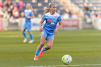 Bridgeview, IL, USA - Saturday, April 23, 2016: Chicago Red Stars midfielder Alyssa Mautz (4) during a regular season National Women's Soccer League match between the Chicago Red Stars and the Western New York Flash at Toyota Park. Chicago won 1-0.