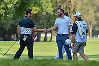 Jon Rahm (ESP) and Dustin Johnson (USA) shake hands following round 1 of the World Golf Championships, Mexico, Club De Golf Chapultepec, Mexico City, Mexico. 3/1/2018.<br /> Picture: Golffile | Ken Murray<br /> <br /> <br /> All photo usage must carry mandatory copyright credit (&copy; Golffile | Ken Murray)