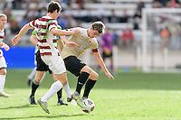 Houston, TX - Friday December 11, 2016: Foster Langdsorf (2) of the Stanford Cardinal and Ian Harkes (16) of the Wake Forest Demon Deacons battle for control of the ball at the NCAA Men's Soccer Finals at BBVA Compass Stadium in Houston Texas.