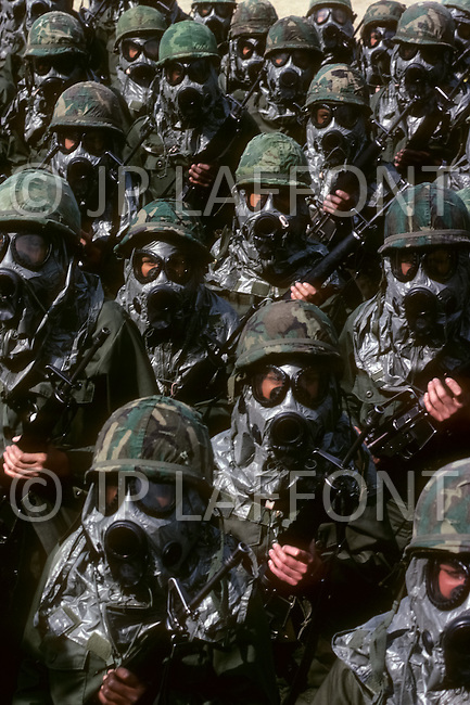 Fort Dix, New Jersey, USA, May, 1980. Women's basic training against atomic radiation.