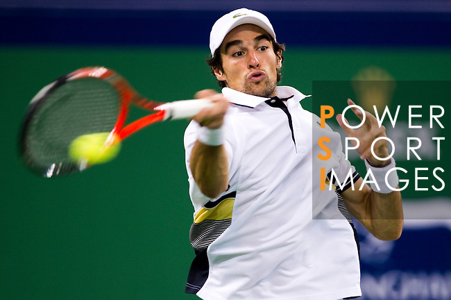 SHANGHAI, CHINA - OCTOBER 14:  Jeremy Chardy of France returns a ball to Andy Murray of Great Britain during day four of the 2010 Shanghai Rolex Masters at the Shanghai Qi Zhong Tennis Center on October 14, 2010 in Shanghai, China.  (Photo by Victor Fraile/The Power of Sport Images) *** Local Caption *** Jeremy Chardy