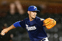 21 September 2012: Matthieu Brelle-Andradre pitches against South Africa during France vs South Africa tie game 2-2, rain delayed at the end of the 9th inning at 1 AM, during the 2012 World Baseball Classic Qualifier round, in Jupiter, Florida, USA. Game to resume 22 September 2012 at noon.