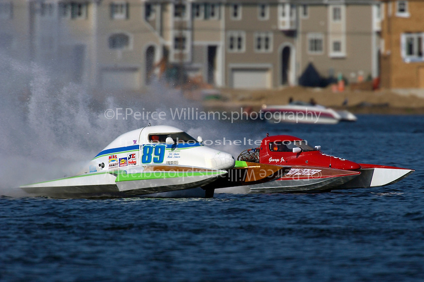 "Mark Johnson, T-89 (L) and George Kennedy, Jr., T-80 ""Outlaw"", 1 Litre Stock hydroplanes..Lake Hopatcong, NJ USA 17 May, 2003.©F. Peirce Williams 2003..F. Peirce Williams .photography.P.O.Box 455 Eaton, OH 45320.p: 317.358.7326  e: fpwp@mac.com."