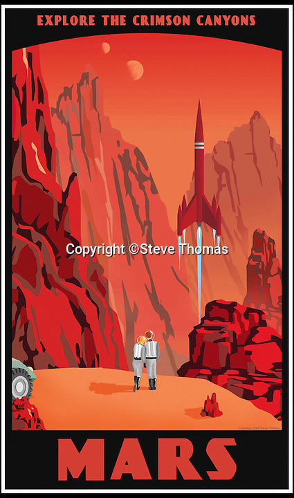 BNPS.co.uk (01202 558833)<br /> Pic: SteveThomas/BNPS<br /> <br /> ***Must Use Full Byline***<br /> <br /> Crimson Canyons of Mars....<br /> <br /> 'Fly me to the Moon, let me play among the stars'<br /> <br /> Frank Sinatra's famous tune has been beautifully brought to life in a set of amazing posters that depict travel around the solar system in the iconic art deco style of the 1930's.<br /> <br /> Graphic artist Steve Thomas's stunning posters mimic those from the halcyon days of travel, when only the idle rich could dream of holiday's in far-flung destinations and the luxurious ways of reaching them.<br /> <br /> Airship flights over Venus and winter sports on Pluto are featured as well as Jules Verne style submarine rides under Neptune's ice and even a Grand canyon visit to Mars.<br /> <br /> Prints of the iconic artworks are now being snapped up online as punters dream of a holiday less ordinary and with Richard Branson's Virgin Galactic set to launch soon it may not be to many years before the posters become a reality.