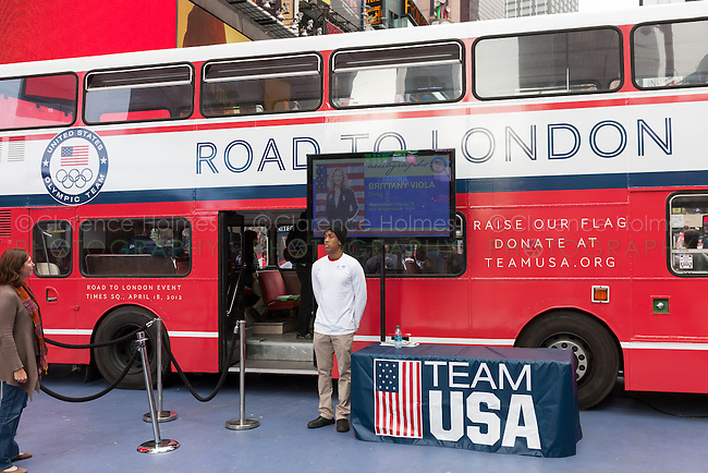 A Team USA bus at the Road to London 100 Days Out Celebration in Times Square in New York City, New York, USA on Wednesday, April 18, 2012.  Times Square was transformed into an Olympic Village for the event.