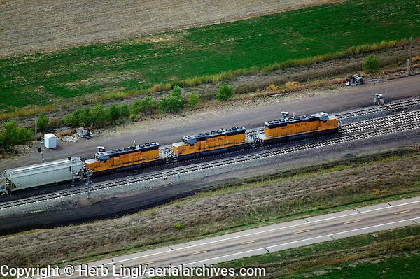 aerial photograph Union Pacific locomotives Nebraska