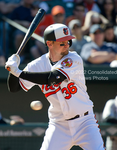 Baltimore Orioles catcher Caleb Joseph (36) bats in the sixth inning against the New York Yankees at Oriole Park at Camden Yards in Baltimore, MD on Sunday, April 9, 2017.  The Yankees won the game 7 - 3. <br /> Credit: Ron Sachs / CNP<br /> (RESTRICTION: NO New York or New Jersey Newspapers or newspapers within a 75 mile radius of New York City)