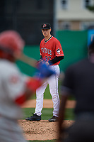 Batavia Muckdogs pitcher Jackson Rose (37) during a NY-Penn League game against the Auburn Doubledays on September 1, 2019 at Dwyer Stadium in Batavia, New York.  Auburn defeated Batavia 3-1.  (Mike Janes/Four Seam Images)
