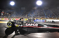 Jun. 29, 2012; Joliet, IL, USA: NHRA top fuel dragster driver Steve Torrence (near) alongside Antron Brown during qualifying for the Route 66 Nationals at Route 66 Raceway. Mandatory Credit: Mark J. Rebilas-