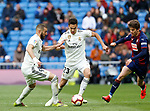 Real Madrid CF's Sergio Reguilon and Real Madrid CF's Karim Benzema during La Liga match. April 06, 2019. (ALTERPHOTOS/Manu R.B.)